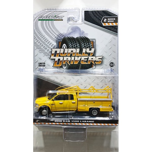 画像1: GREEN LiGHT 1:64 Dually Drivers Series 2 '18 Ram 3500 Dually Service Bed with Ladder Rack