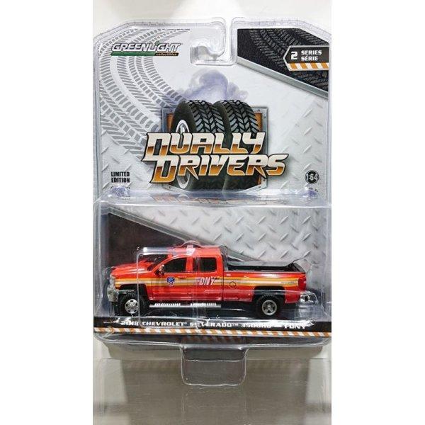 画像1: GREEN LiGHT 1:64 Dually Drivers Series 2 '18 Chevrolet Silverado 3500 Dually FDNY (The Official Fire Department City of New York)