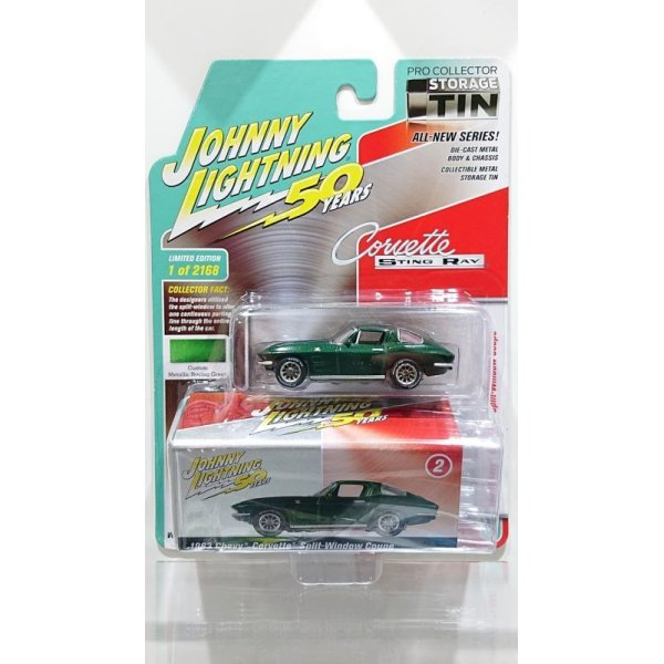 画像1: JOHNNY LIGHTNING 1/64 Collector's Tin 2019 Release 2 '63 Chevy Corvette Split-Window Coupe Metallic Racing Green