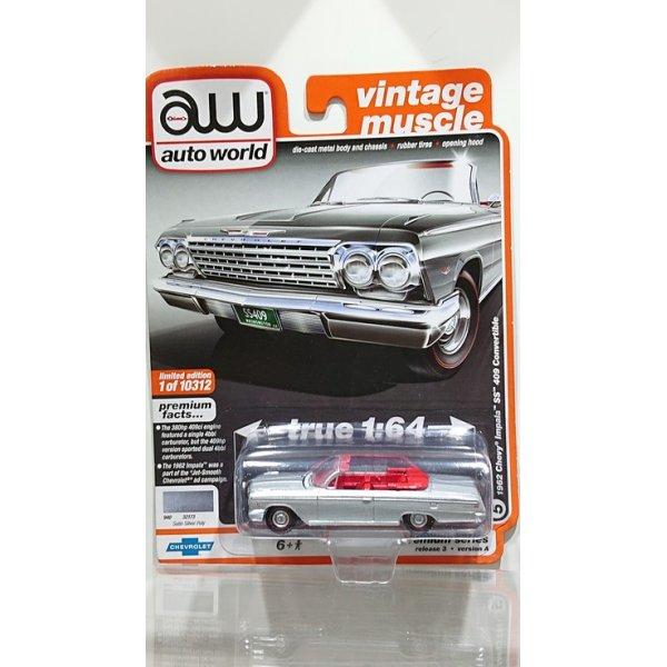 画像1: auto world 1/64 '62 Chevy Impala SS Convertible Satin Silver