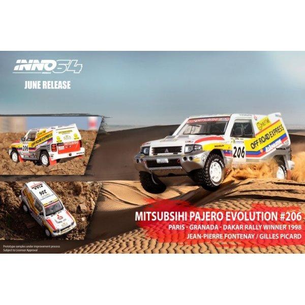 画像2: INNO Models 1/64 Mitsubishi Pajero Evolution #206 Paris - Dakar 1998 Winner