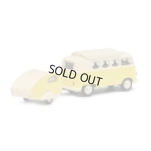 画像3: Schuco 1/64 VW T1 Camper with Trailer Yellow / Beige