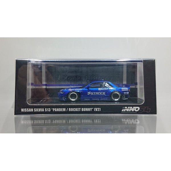 画像1: INNO Models 1/64 Nissan Silvia S13 ROCKET BUNNY V2 Blue Metallic